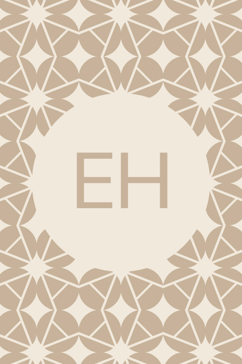The initials E and H on a patterned background